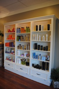 Blake and Company hair salon shelves – Front Royal, VA