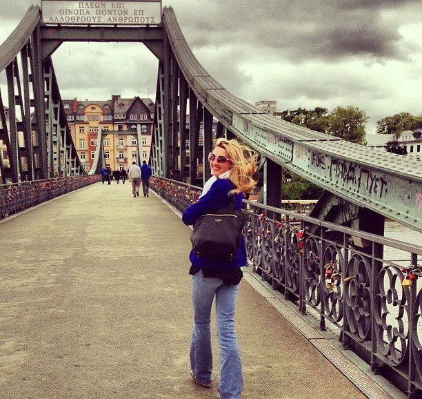 Melanie at the Iron Bridge in Frankfurt, Germany.